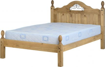 Darwin Scroll Double Bed Low Foot End in Pine