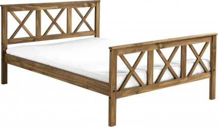 Earl Double Bed High Foot End in Distressed Waxed Pine