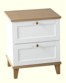 Astor 2 Drawer Bedside Chest in White & Ash Effect Veneer