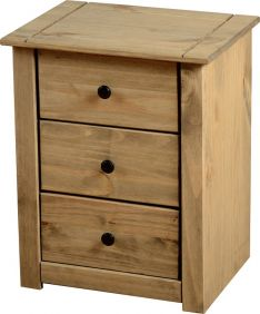 Majesty 3 Drawer Bedside Chest in Natural Wax