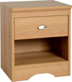 Oaken 1 Drawer Bedside Cabinet in Teak Effect Veneer
