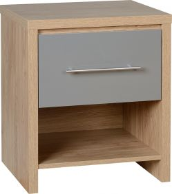 Dune 1 Drawer Bedside Cabinet in Light Oak Veneer & Grey High Gloss