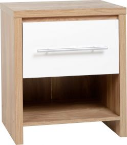 Dune 1 Drawer Bedside Cabinet in Light Oak Veneer & White High Gloss