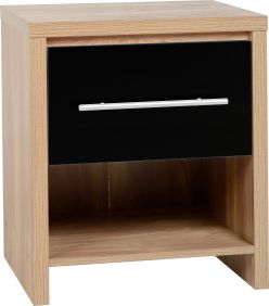 Dune 1 Drawer Bedside Cabinet in Light Oak Veneer & Black High Gloss
