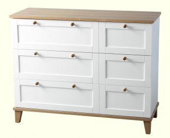 Astor 3 Drawer Chest in White & Ash Effect Veneer