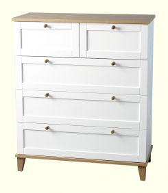 Astor 3 & 2 Drawer Chest in White & Ash Effect Veneer