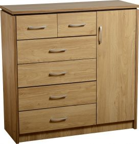 Hunter 1 Door 6 Drawer Chest in Oak Veneer with Walnut Trim