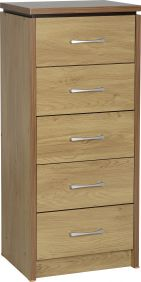 Hunter 5 Drawer Narrow Chest in Oak Veneer with Walnut Trim