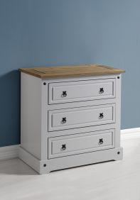 Darwin 3 Drawer Chest in Grey & Pine