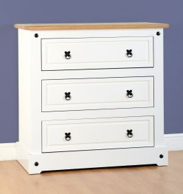 Darwin 3 Drawer Chest in White & Pine