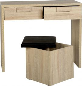 Camberwell 2 Drawer Dressing Table Set in Sonoma Oak Veneer & Black