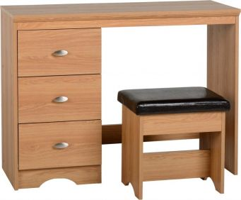 Oaken 3 Drawer Dressing Table Set in Teak Effect Veneer Brown Faux Leather