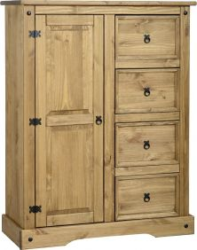 Darwin 1 Door 4 Drawer Low Wardrobe in Pine