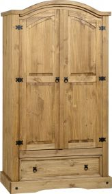 Darwin 2 Door 1 Drawer Wardrobe in Pine