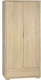 Camberwell 2 Door 1 Drawer Wardrobe in Sonoma Oak Veneer
