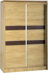 Hunter 2 Door Sliding Wardrobe in Oak Veneer with Walnut Trim