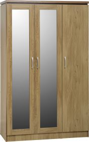 Hunter 3 Door All Hanging Wardrobe in Oak Veneer with Walnut Trim