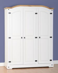 Darwin 3 Door Wardrobe in White & Pine