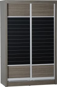 London 2 Door Sliding Wardrobe in Black Wood Grain