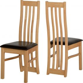 Alwar Chair in Oak Veneer & Brown set of 2