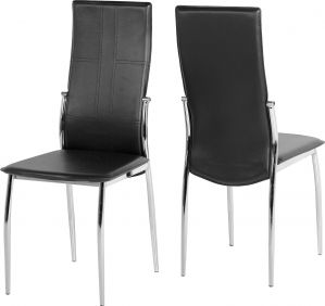 Baxter Chair in Black & Chrome set of 2