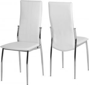 Baxter Chair in White & Chrome set of 2