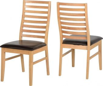 Bexley Chair in Oak & Brown set of 2