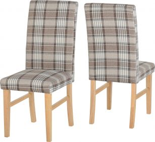 Lionhead Chair in Grey & Brown Tartan Fabric set of 2