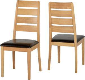 Skypod Chair in Oak Varnish & Brown set of 2