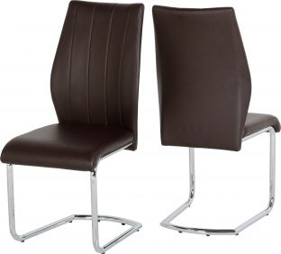 Nova Chair in Brown & Chrome set of 2