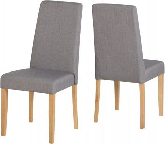 Mulberry Chair in Natural Oak & Grey Fabric set of 2