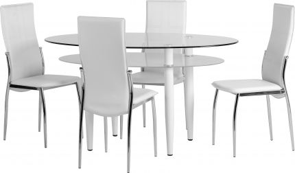 Baxter Dining Set in Clear Glass & Frosted Glass & White & White & Chrome