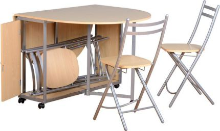 Enfield Butterfly Dining Set in Beech & Silver