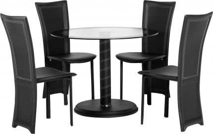 Malvern Round Dining Set in Clear Glass & Black Border & Black
