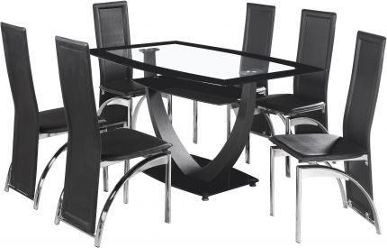 Odeon 6 Seater Dining Set in Clear Glass & Black Border