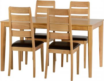 Skypod 4 Seater Dining Set in Oak Varnish & Brown