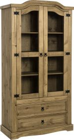 Darwin 2 Door 2 Drawer Glass Display Unit in Pine & Clear Glass