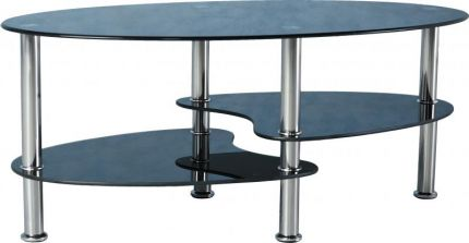 Capri Coffee Table in Black Glass & Silver