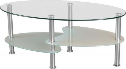 Capri Coffee Table in Clear Glass & Frosted Glass & Silver
