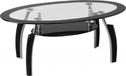 Molineux Coffee Table in Clear Glass & Black Border