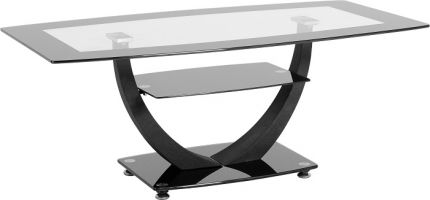 Odeon Coffee Table in Clear Glass & Black