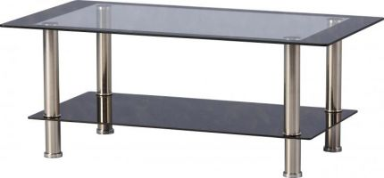 Sidcup Coffee Table in Clear Glass & Black Border