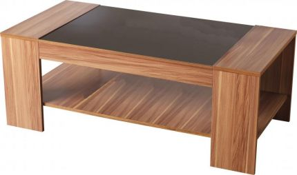 Monaco Coffee Table in Walnut Veneer & Black Gloss