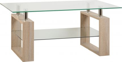 Nova Coffee Table in Sonoma Oak Veneer & Clear Glass & Silver