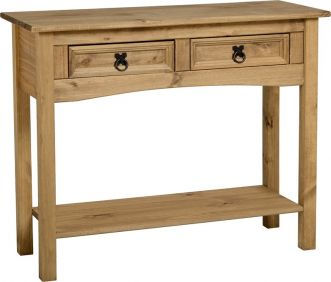 Darwin 2 Drawer Console Table with Shelf in Pine