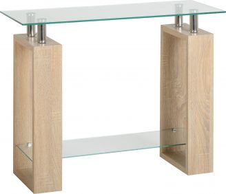 Nova Console Table in Sonoma Oak Veneer & Clear Glass & Silver