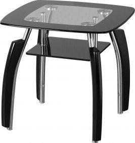 Molineux Lamp Table in Clear Glass & Black Border