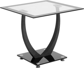 Odeon Lamp Table in Clear Glass & Black