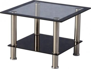 Sidcup Lamp Table in Clear Glass & Black Border