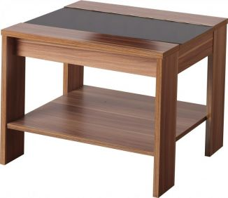 Monaco Lamp Table in Walnut Veneer & Black Gloss